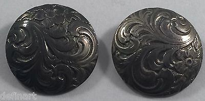Vintage Continental 830 Silver Flower Button Set of Two (2)