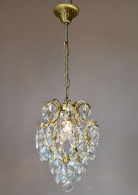 "18.50"" 8 ARM ANTIQUE FRENCH VINTAGE 1940's CRYSTAL CHANDELIER LAMP OLD LIGHTING"