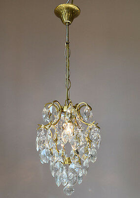 Mini Light Antique French Vintage Crystal Chandelier Lamp Old Lighting Fixture