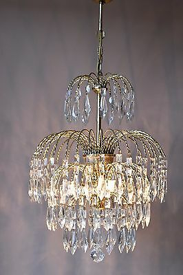Waterfall Pendant Antique French Vintage Glass Crystal Chandelier Lamp Old Light