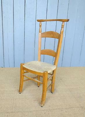 3 Available Reclaimed Antique Rush Seated Church Chairs - Kitchen Chapel