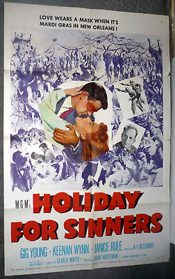 MARDI GRAS/NEW ORLEANS LOUISIANA original 1952 Movie Poster HOLIDAY FOR SINNERS