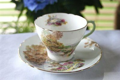 "Shelley ""Heather"" Tea Cup and Saucer - Gainsborough Shape,  Superb Condition"