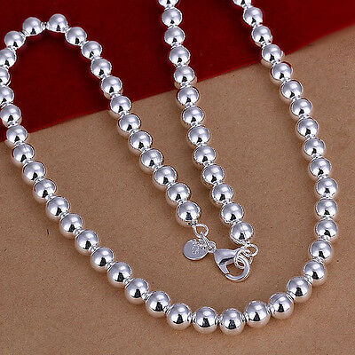 "Free Shipping Sterling Solid Silver 8mm*20"" Hollow Beads Chain Necklace N111"