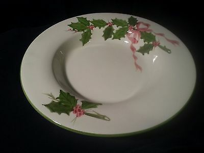 Laurie Gates Pottery Christmas Holly Green Trim NS Gustin Large Rim Soup Bowl
