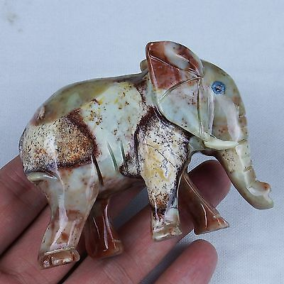 Natural Gemstone Colorful Stone Animal Carving Figurines Elephant (large)