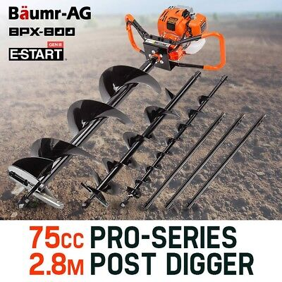 Baumr-AG Post Hole Digger 75cc Fence Borer Petrol Drill Bit Posthole Earth Auger