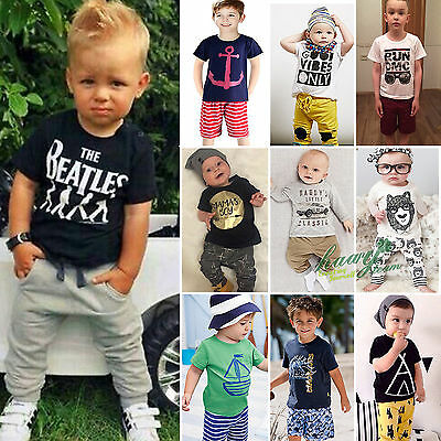 Summer Baby Toddler Kids Boys Clothes Tops Pants 2PCS Outfits Tracksuit set 1-7Y