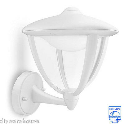 """Philips """"robin"""" Superb Quality Outdoor Deco White Wall Light Ip44 Led Bulbs. New"""