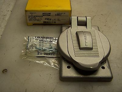 New Hubbell Weatherproof Cast Aluminum Receptacle Cover 23007 With Lift Cover