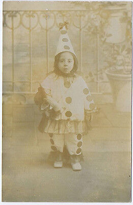 Young Girl in Pierrot the Clown Outfit, Vintage RP Postcard