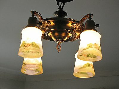 1920s Antique Brass Ceiling Fixture Reverse Paint Frosted Glass Shades Art Deco