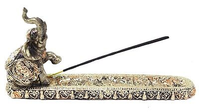 Gold Elephant Buddha Wraps Incense Burner Holder Lucky Figurine Home Decor Gift