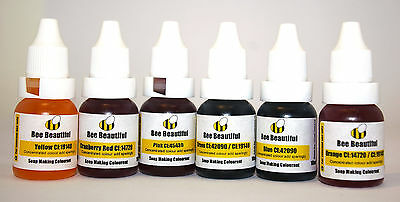 Bee Beautiful 6 x Soap Making colours water based dyes 10ml