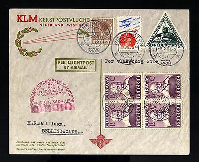 8649-CURAÇAO-AIRMAIL COVER WINSCHOTEN to BELLINGWOLDE (holland)1934.WWII.Netherl