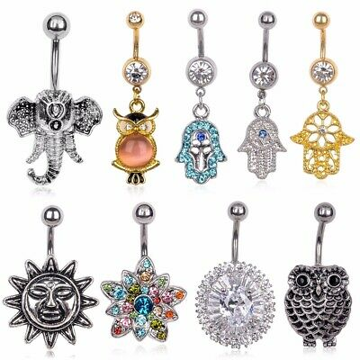 Trendy 2016 Body Piercing Jewelry Button Dangle Barbell Bar Belly Navel Ring