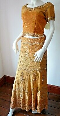 Asian Wedding Burnt Orange Embellished Lengha & Dupatta    (M)  Uk 10 £650  Bnwt