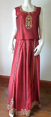 Asian Wedding Red Lengha & Dupatta     (M)  Uk 8/10  Ret £650    Bnwt