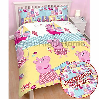 Peppa Pig Nautical Double Rotary Duvet Cover & Pillowcase Set Kids Bedding New