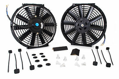 "Universal 2 X  14"" Electric Engine Cooling Fan With 2 X Fitting Kit Straight"