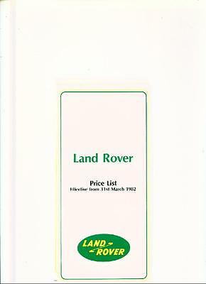 Land Rover Price List Sales Brochure March 1982