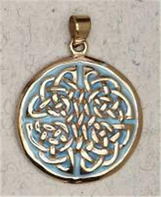 Bronze Celtic Weave with Blue Enamel Pendant!