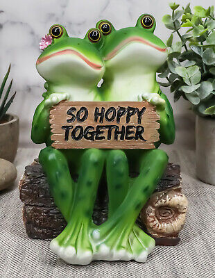 Eternal Lover Frog Wedding Couple Sitting On Log Figurine Collectible Sculpture