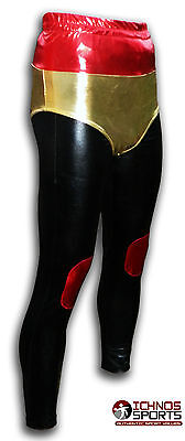 Luchadora adult Mexican Lucha Libre Wrestling tights pants black red gold