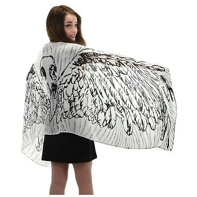 Feather Wings Lightweight Scarf Festival Steampunk EDM White