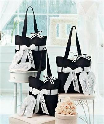 0fed85dc3 Wedding Party Gift Tote Bag Flip Flop Set-Bride Bridesmaid And or Maid Of