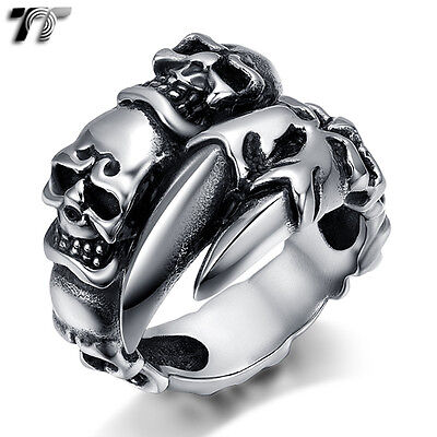 High Quality TT 316L Stainless Steel Skull Cuff Band Ring (RZ155) NEW