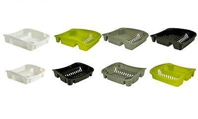 Whitefurze Kitchen Plastic Dish Drying Drainer Plate and Cutlery Rack Sink Tidy