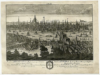 Rare Antique Print-LONDON-THAMES-ST. PAUL'S CATHEDRAL-Haffner-Rupprecht-1745