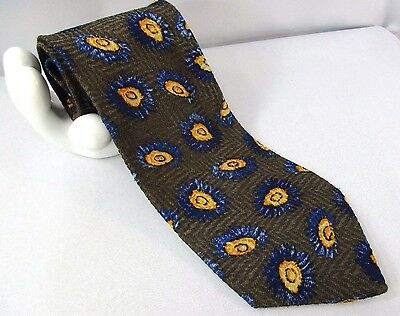 "HUGO BOSS Men's Silk Tie Floral Abstract Herringbone 4""x 57"" Bronze Gold Blue"