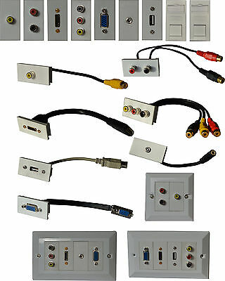 Multimedia Modular Wall Socket Faceplate Network HDMI VGA PHONO 3.5mm USB RJ45
