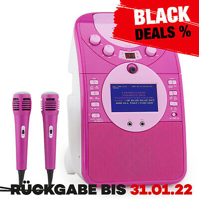 Mobil Musik Anlage Karaoke System Party Kinder Sd Usb Mp3 2 Mikros Pink