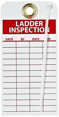 "NMC RPT168G Ladder Safety Inspection Tags 6""X 3"" Unrip Vinyl W/ Grommet (25PK)"