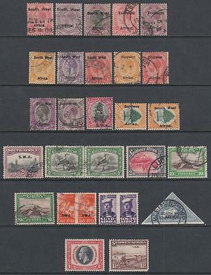 South West Africa pre-1953 hi val selection 29 diff stamps cv $84.90