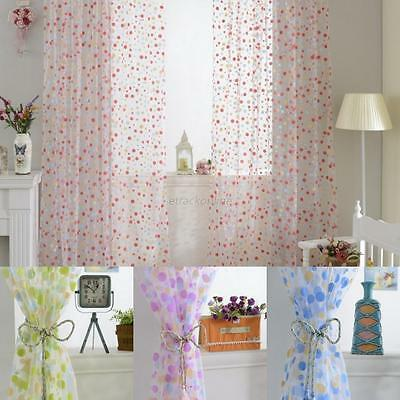 Cute Polka Dots Tulle Voile Door Window Curtain Drape Panel Sheer Scarf Valances