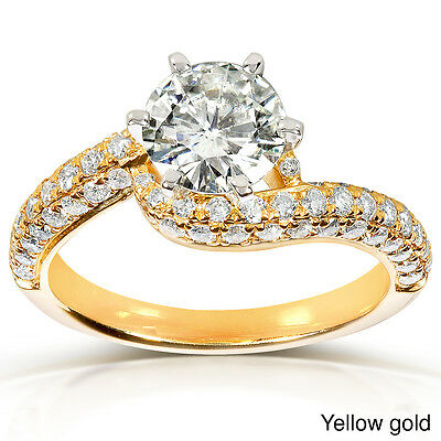 Round-cut Moissanite and Diamond Engagement Ring 1 5/8 Carat (ctw) in 14k Gold