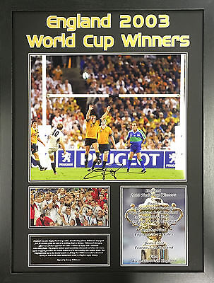 JONNY WILKINSON FRAMED SIGNED ENGLAND 2003 RUGBY WORLD CUP 16x20 PHOTO COA PROOF
