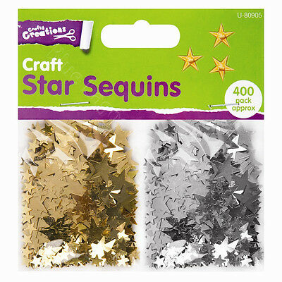 400 Gold & Silver Star Sequins Arts Crafts Confetti Wedding Table Art Decoration