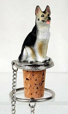 German Shepherd Black Tan Dog Hand Painted Resin Figurine Wine Bottle Stopper