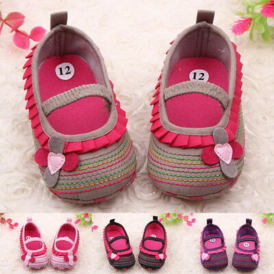 Toddler Infant Baby Girl Flower Shoes Crib Shoes Size Newborn to 18 Months JHG