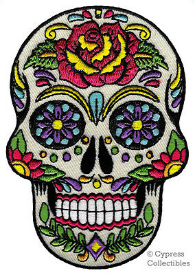 SUGAR SKULL PATCH iron-on embroidered DIA DE LOS MUERTOS CALAVERA DAY OF DEAD