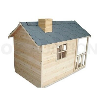Kids Outdoor Wooden Playhouse Cubby House w/ Windows Verandah Asphalt Roof Play