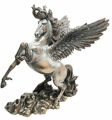 Large Majestic Pegasus Rising With Open Wings Flying Over Clouds Figurine Statue