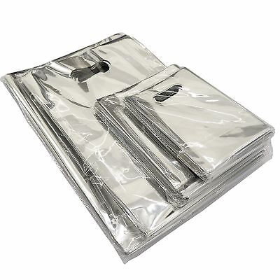 Wholesale Lot of Silver Metallic Retail Shopping Bags Merchandise Bags, 4 Sizes