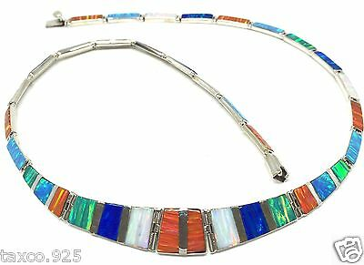 Taxco Mexican Sterling 950 Silver Opal Necklace Mexico