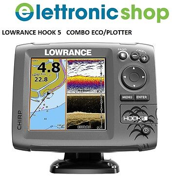 LOWRANCE HOOK 5 COMBO ECO CHIRP/PLOTTER GPS + TRASD. 83/200/455/800Khz DOWNSCAN